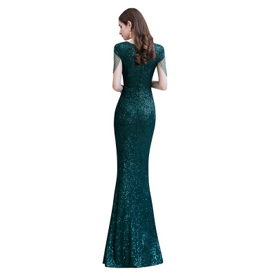 V-neck Cap Sleeves Floor Length Emerald Fitted Sequin Prom Dresses_11