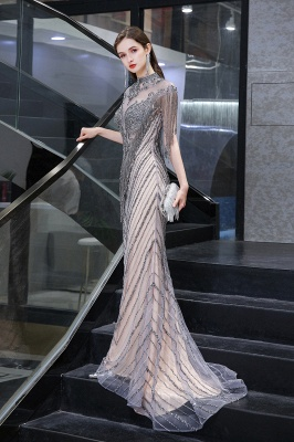High Neck Short Sleeves Sheer Beaded Fitted Glittering Prom Dresses_5