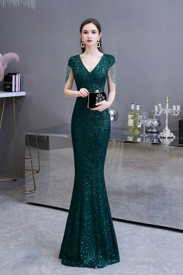 V-neck Cap Sleeves Floor Length Emerald Fitted Sequin Prom Dresses_3