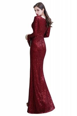 V-neck Long Sleeves Fitted Floor Length Burgundy Sequin Prom Dresses_33