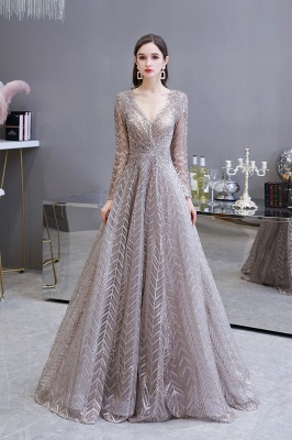 V-neck Long Sleeves Floor Length Lace A-line Gorgeous Prom Dresses_2
