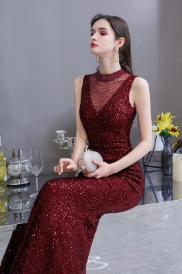 High Neck Sleeveless Floor Length Sparkly Sequin Fitted Prom Dresses_7