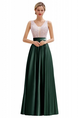 Pink Straps V Neck Beading Crystals A Line Floor Length Ruffles Prom Dresses | Backless Sash Evening Dresses_5
