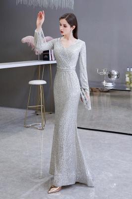 V-neck Long Sleeves Fitted Floor Length Burgundy Sequin Prom Dresses_4