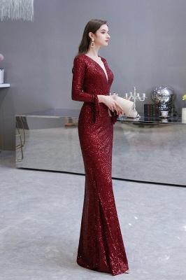 V-neck Long Sleeves Fitted Floor Length Burgundy Sequin Prom Dresses_29