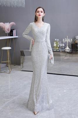 V-neck Long Sleeves Fitted Floor Length Burgundy Sequin Prom Dresses_9