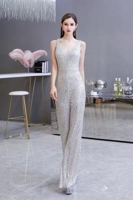 Women's Fashion V-neck Straps Sparkly Sequin Prom Jumpsuit_5
