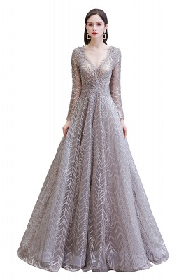 V-neck Long Sleeves Floor Length Lace A-line Gorgeous Prom Dresses_1