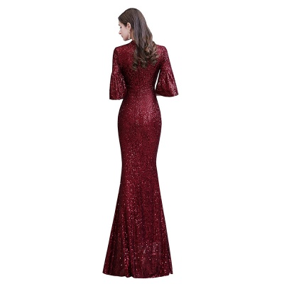 Jewel Keyhole Half Sleeves Floor Length Sequin Burgundy Prom Dresses_12