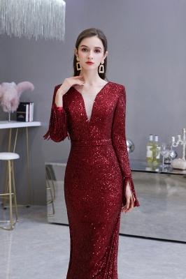 V-neck Long Sleeves Fitted Floor Length Burgundy Sequin Prom Dresses_14