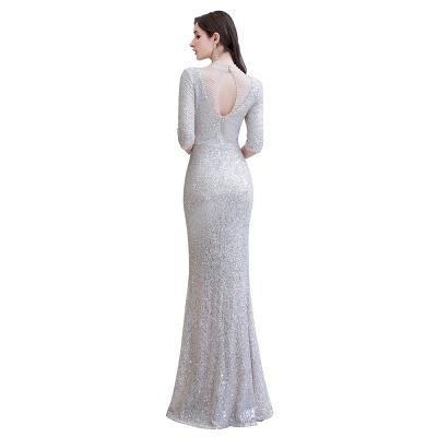 Jewel Neck Half Sleeves Open Back Floor Length Glitter Fitted Prom Dresses_12