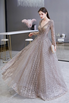 V-neck Long Sleeves Floor Length Lace A-line Gorgeous Prom Dresses_8