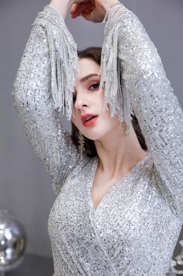 V-neck Long Sleeves Fitted Floor Length Burgundy Sequin Prom Dresses_10