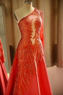 Red One Shoulder Long Sleeve Applique Floor Length A Line Prom Dresses_6