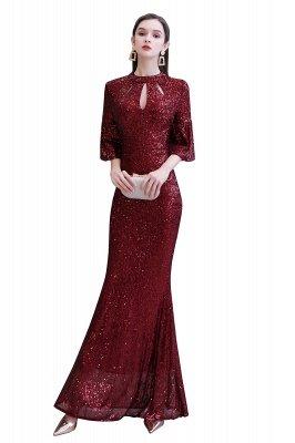 Jewel Keyhole Half Sleeves Floor Length Sequin Burgundy Prom Dresses_1