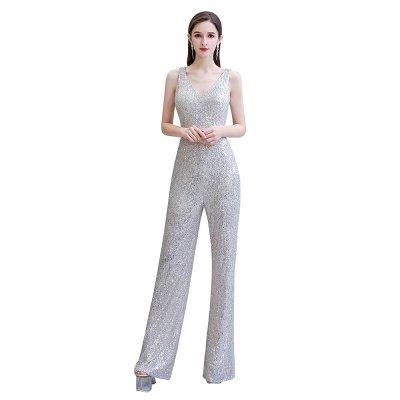Women's Fashion V-neck Straps Sparkly Sequin Prom Jumpsuit_2
