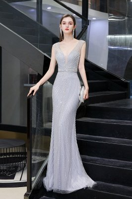 V-neck Cap Sleeves Floor Length Crystal Belt Fitted Prom Dresses_7