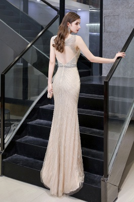 V-neck Cap Sleeves Floor Length Crystal Belt Fitted Prom Dresses_27