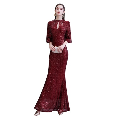 Jewel Keyhole Half Sleeves Floor Length Sequin Burgundy Prom Dresses_13