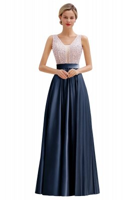 Pink Straps V Neck Beading Crystals A Line Floor Length Ruffles Prom Dresses | Backless Sash Evening Dresses_3