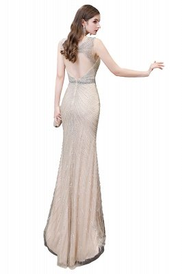 V-neck Cap Sleeves Floor Length Crystal Belt Fitted Prom Dresses_30
