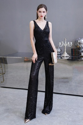 Women's Fashion V-neck Straps Sparkly Sequin Prom Jumpsuit_14