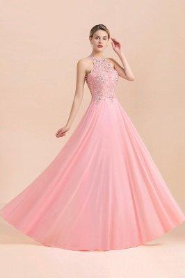 Halter Full Back Applique Beaded Pearls Chiffon A Line Prom Dresses_21