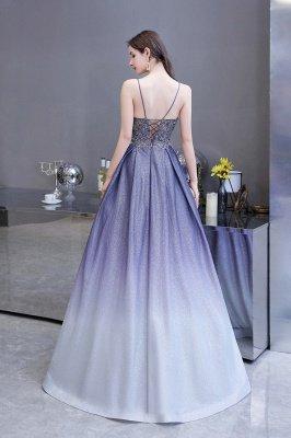 Spaghetti Straps V-neck Beaded Appliques A-line Prom Dresses_6