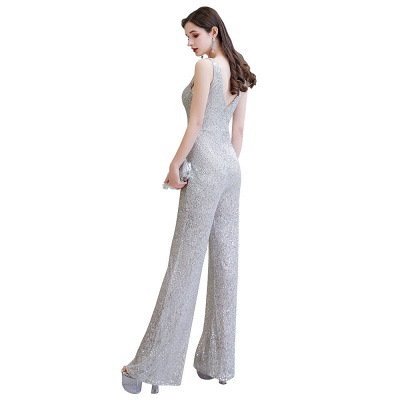 Women's Fashion V-neck Straps Sparkly Sequin Prom Jumpsuit_27