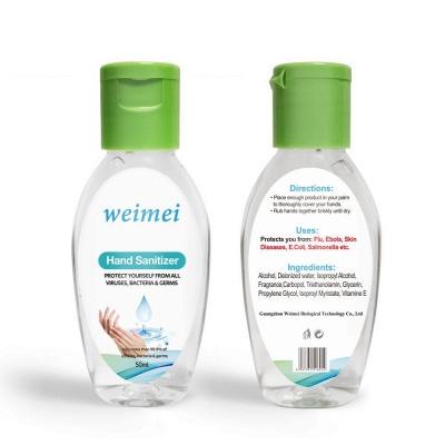 50ml In Stock Gel Antibacterial Non-washing 99.9% Alcohol Hand Sanitizer  (20 bottles*50ml)