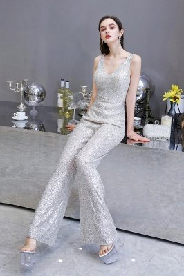 Women's Fashion V-neck Straps Sparkly Sequin Prom Jumpsuit_11