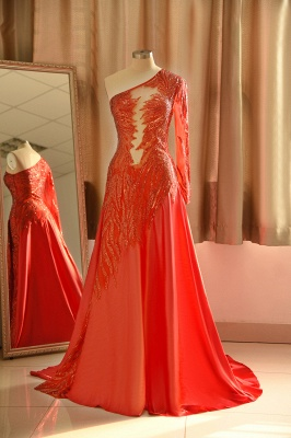 Red One Shoulder Long Sleeve Applique Floor Length A Line Prom Dresses