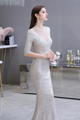 Jewel Neck Half Sleeves Open Back Floor Length Glitter Fitted Prom Dresses_6