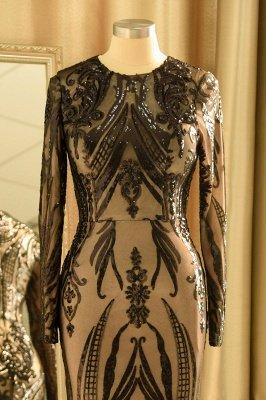 Black Jewel Long Sleeve Applique Sequin Sheath Prom Dresses With Detachable Skirt_7