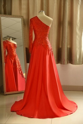 Red One Shoulder Long Sleeve Applique Floor Length A Line Prom Dresses_3
