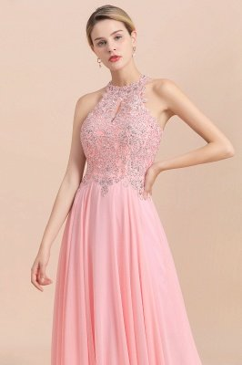 Halter Full Back Applique Beaded Pearls Chiffon A Line Prom Dresses_20