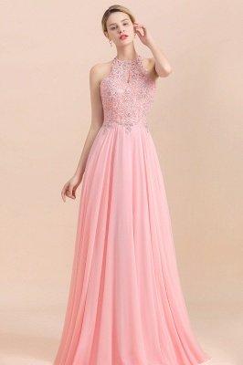 Halter Full Back Applique Beaded Pearls Chiffon A Line Prom Dresses_16