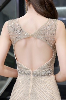 V-neck Cap Sleeves Floor Length Crystal Belt Fitted Prom Dresses_19