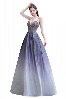 Spaghetti Straps V-neck Beaded Appliques A-line Prom Dresses_12