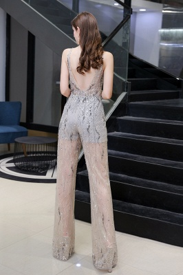 Round Neck Sleeveless Open Back Beaded Sparkly Prom Jumpsuit_4
