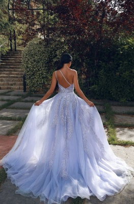 Charming One Shoulder Appliques Lilac Side Slit Prom Dresses with Detachable Train_2