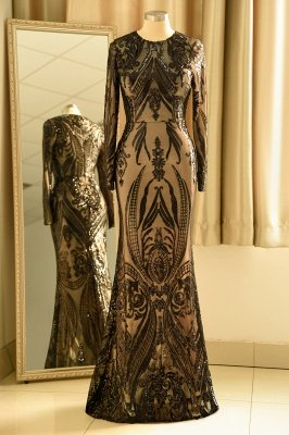 Black Jewel Long Sleeve Applique Sequin Sheath Prom Dresses With Detachable Skirt_4