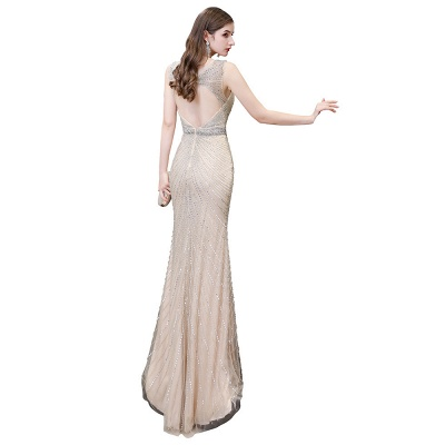 V-neck Cap Sleeves Floor Length Crystal Belt Fitted Prom Dresses_32
