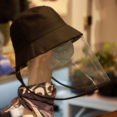 Bucket Hat With Mask Eye Protection Fishing Hat Cap Anti-pollen Mask Anti-saliva Cover Full Face Caps 2020 Safety Hat_1