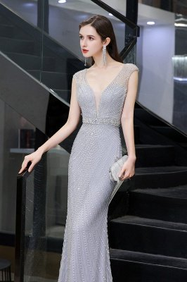 V-neck Cap Sleeves Floor Length Crystal Belt Fitted Prom Dresses_10
