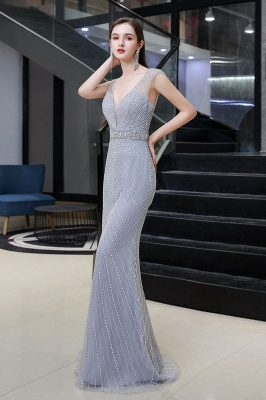 V-neck Cap Sleeves Floor Length Crystal Belt Fitted Prom Dresses_5