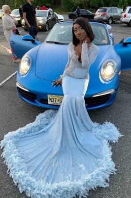 V-neck Long Sleeves Appliques Mermaid Feather Prom Dresses with Train_2