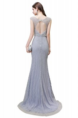 V-neck Cap Sleeves Floor Length Crystal Belt Fitted Prom Dresses_24