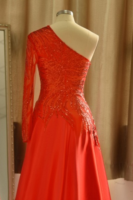Red One Shoulder Long Sleeve Applique Floor Length A Line Prom Dresses_7