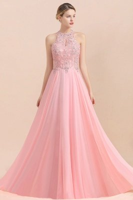 Halter Full Back Applique Beaded Pearls Chiffon A Line Prom Dresses_17